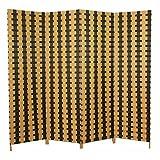 Homestyle4u 4 tlg. Weiden Raumteiler Paravent Spanische Wand braun mit dunkelbraunen Streifen