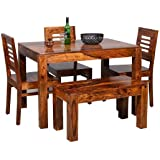 Eagle Furniture Wooden Solid Sheesham Wood Dining Table 4 Seater Dining Table Set with 3 Chairs & 1 Bench Dining Room Furnitu