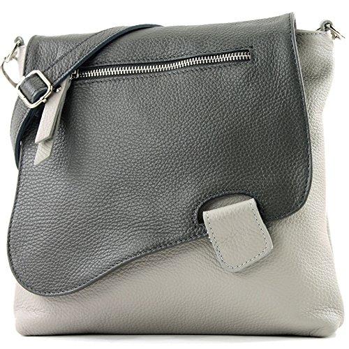 modamoda de - ital. Ledertasche Damentasche Messengertasche Umhängetasche Leder T146 (Grau/Dunkelgrau) (Grau Leder Handtaschen)