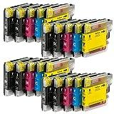 20x XL kompatible Druckerpatronen für BROTHER ersetzt LC980, LC 980, LC1100, LC 1100 - Farben: 8x Black und je 4x Color