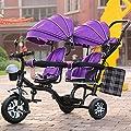 LZTET Cochecito De Bebé De Tres Ruedas Gemelas Cochecito De Bebé Plegable Y Multifuncional De Alta Clase