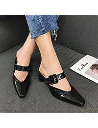 Qingchunhuangtang@@ La primavera e l'estate sandali con Lazy pantofole Square spesso con sandali ciabattine Baotou,Thirty-Eight,Nero