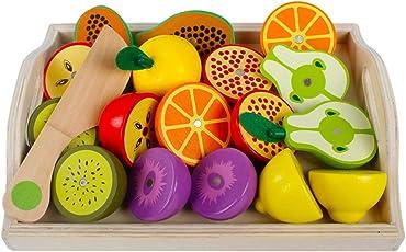 Rolanli 11 Stücke Holz Emulational Gemüse Obst Schneiden Geschirr Set Spielzeug für Kinder Rollenspiele - Obst