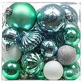 Valery Madelyn 50 Stücke 3-8cm Weihnachtskugeln Kunststoff Christbaumkugeln Set Blau Grün Silber mit Aufhänger Weihnachtsbaumschmuck Weihnachten Dekoration