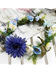 Courroie de coiffe de mariée, vacances de bord de mer à prendre des photos demoiselle d'honneur bijoux fleur bleue
