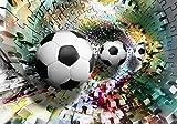 Welt-der-Träume Fototapete Tapete Wandbild Fußbälle in 3D Puzzle Tunnel | P8 (368cm. x 254cm.) | Photo Wallpaper Mural 3381P8-MS | Sport Fußball Puzzle 3D Bunt Tunnel FC Ronaldo