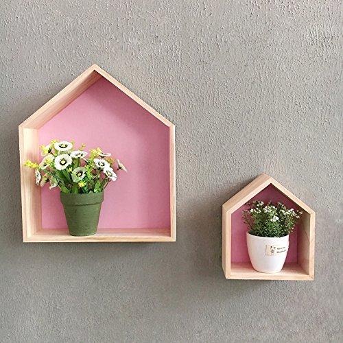 Regal Schwimmende Kinderzimmer (Wandregal Schweberegale Hausform Wandregal Wanddekoration Regale für Die Wand Kinderzimmer, 2 Stücke (Rosa))