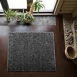 Shaggy-Teppich | Flauschiger Hochflor fürs Wohnzimmer, Schlafzimmer oder Kinderzimmer | einfarbig, schadstoffgeprüft, allergikergeeignet in Farbe: Dunkelgrau; Größe: 150 x 150 cm quadratisch