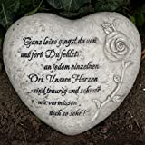 Herz Grabdekoration mit Inschrift - Ganz leise gingst du von uns fort. Du fehlst an jedem einzelnen Ort. Durchmesser 18cm
