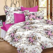 Story  at home Magic Collection 100% Cotton 152 Tc Bedsheet For Double Bed 1 Bedsheet With 2 Pillow Covers - Floral, White