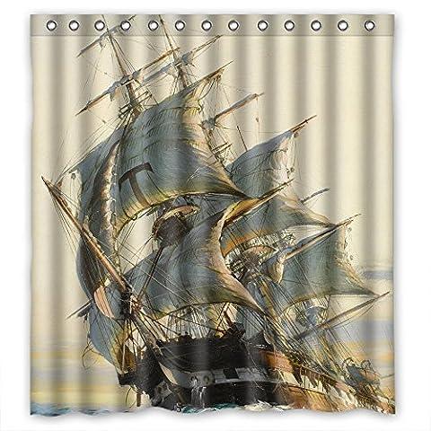 sunsmiles Polyester Navigation Voyage Seefahrt navigieren Segeln Boot Schiff Schiff Jalor Art Malerei Weihnachten Dusche Fall Breite x Höhe/167,6x 182,9cm/W H 168von 180cm beste Wahl für Kinder