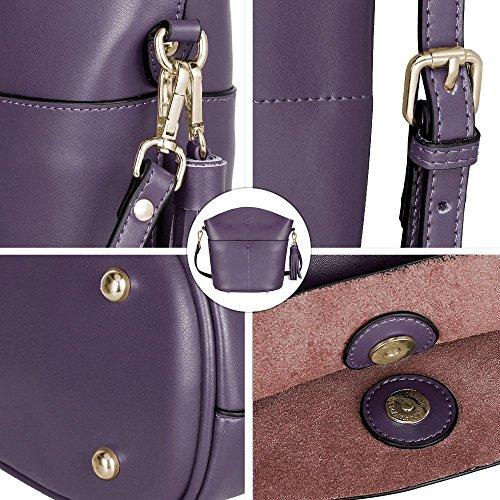 S-ZONE Sacchetto di spalla del Crossbody del sacchetto della borsa della borsa della borsa della pelle bovina delle donne di (viola) Viola
