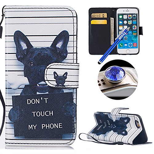 Housse de téléphone pour iPhone 6/6S ,ETSUE - Slim-Fit Folio Smart Portefeuille en Cuir Case Coque Etui pour iPhone 6/6S,Coloré Mode Motif PU Leather Coque Stéréoscopique Fonction Stand Carte de Crédi Chien noir
