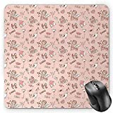 BGLKCS Angel Mauspads,Doodle Cupid Cake Birds Dove Locked Hearts Flowers Valentines Celebration,Standard Size Rectangle Non-Slip Rubber Mousepad,Blush Pale Pink Umber