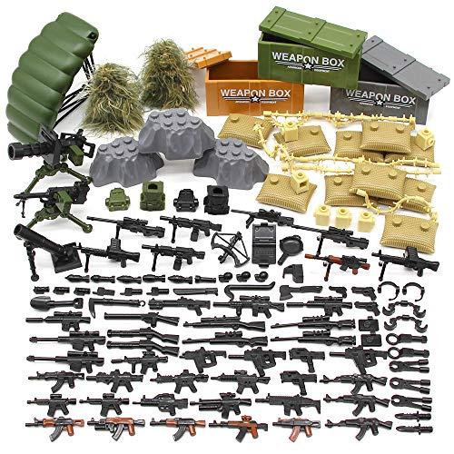 Feleph Military Army Waffen und Zubehör Set, Custom Figures Militärblock Spielzeug Moderne Waffen Pack Zubehör Set Kompatibel Große Marken, Militär Bausteine Spielzeug für Kinder Jungen (C) -