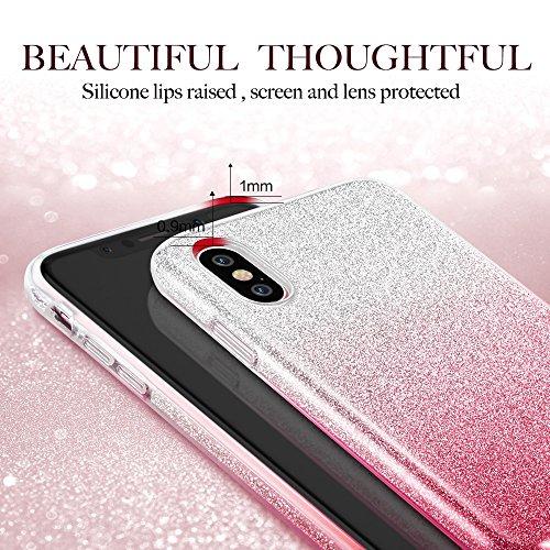 Coque iPhone X Rose, ESR iPhone 10 Coque Paillette Strass Brillante Bling Bling Glitter de Luxe, Housse Etui de Protection Silicone [Ultra Fine] [Anti Choc] pour Apple iPhone X (2017) 5,8 pouces (Séri Rose Dégradé