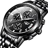 Uhren, Herren Schwarz Armbanduhr Sports chronograph wasserdicht Uhr mit Luxus Casual Edelstahl Quarz-Armbanduhr