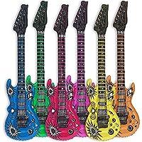 Goods & Gadgets 6X Luftgitarre Rockstar aufblasbare Air-Guitar Luft-Gitarren aufblasbar 100cm bunt