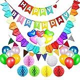 Acetek Décorations Anniversaire Articles de fête, Drapeaux de bannière joyeux anniversaire, 6 boules de pompon de papier de soie coloré, 18 ballons, guirlande de coeur et Bunting pour anniversaire, Baby Shower, mariage...