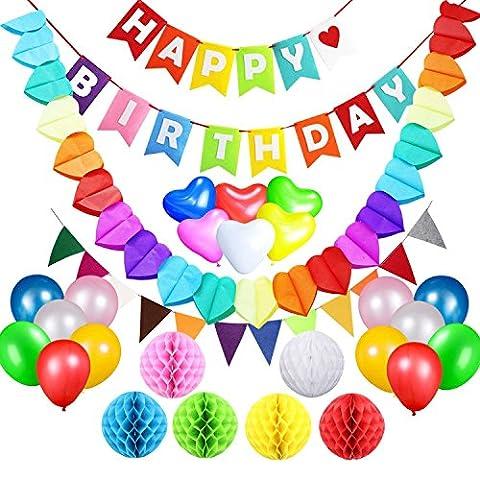 acetek Geburtstag Party Supplies Dekorationen Set, Happy Birthday Banner Flaggen, 6farbenfrohen Pompon aus Seidenpapier Bälle, 18Ballons, Heart & Star Form Girlande für Geburtstag, Baby Dusche, Braut, (Spongebob Bilder)