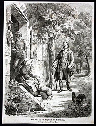Jean Paul auf dem Wege nach der Rollwenzelei - Jean Paul Rollwenzelei Johann Paul Friedrich Richter Holzstich antique print