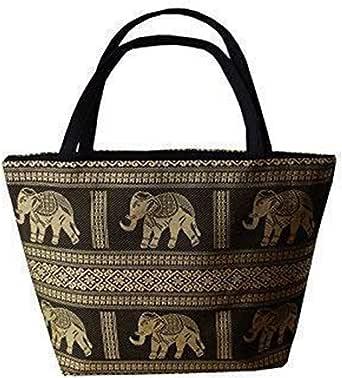 Ariyas Thaishop.de Henkeltasche aus Baumwolle/Seide mit Elefanten Muster, schwarz, 42 x 15 x 30 cm (l x b x h), Henkel: 46 cm