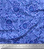 Soimoi Blau Satin Seide Stoff Blätter & Blumen