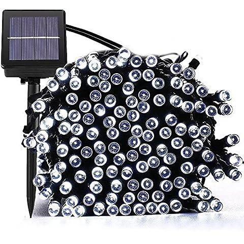 Guluman extérieur solaire Fée Guirlande lumineuse LED Lumières de Noël, 200LED 21,9m 8modes Étanche Guirlande solaire lumières de jardin pour jardin, maison, arbre de Noël, fête, Plaza blanc