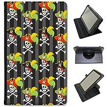 Mania Pirate avec trésor & perroquets Fancy A Snuggle Étui en similicuir avec support de visionnage pour tablettes Google Google Nexus 7 2013 Skulls Wearing Captains Hat