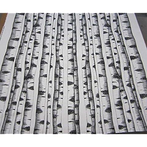 Tessuto di cotone tessuto al metro betulla albero bianco nero
