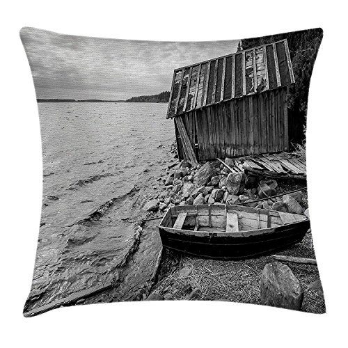 Black and White Decor Throw Pillow Cushion Cover, Old Wooden Fishing Boat and Abandoned Barn on Lake Coastal Charm Picture, Decorative Square Accent Pillow Case, 18 X 18 Inches, Grey