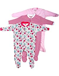 EIO Mini Berry Long Sleeve Cotton Sleep Suit Romper for Girls, 0-3 Months (Blue) - Set of 3