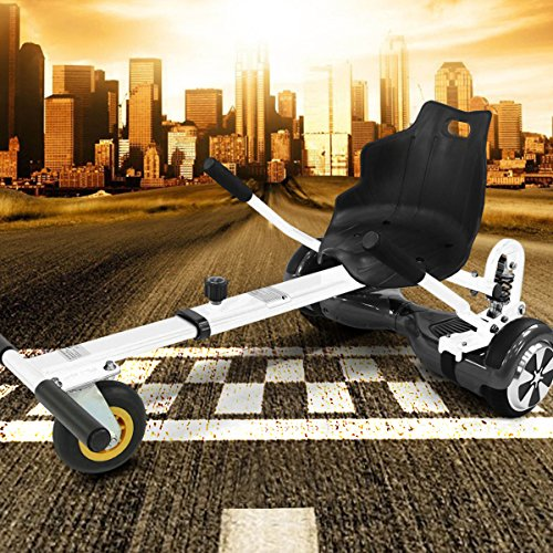 "Viron Hoverkart mit LED-Beleuchtung für Hoverboard E-Scooter Hover Seat GoKart Self Balance Scooter Sitz (6,5"" / 8,0\"" / 10\"") verstellbar (Weiss)"