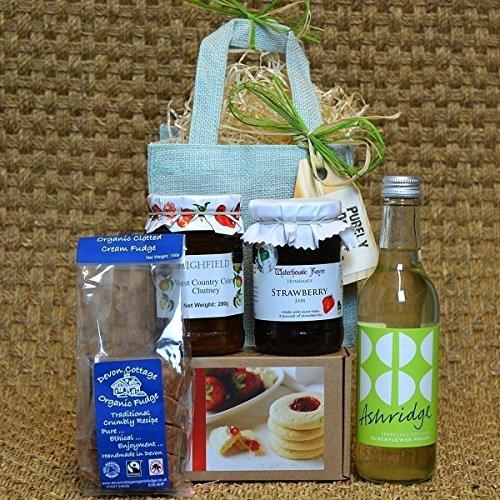 PURELY DEVON HAMPERS - Devon treats (aqua jute bag) gift for her