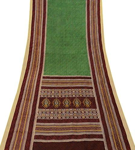 Indian Ethnic Vintage Green Tissue Organza Silk Saree Craft Dressmaking Fabric Tissue Silk Saree