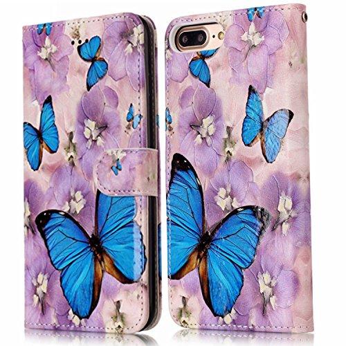 Coque pour iPhone 7 Plus, Etui pour iPhone 7 Pluss, ISAKEN Peinture Style Soulagement de la couleur PU Cuir Flip Magnétique Portefeuille Etui Housse de Protection Coque Étui Case Cover avec Stand Supp Papillon bleu fleur