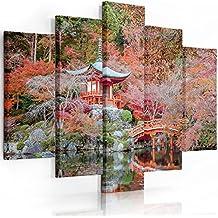 Feeby Frames, Quadro multipannello di 5 pannelli, Quadro su tela, Stampa artistica, Canvas (GIARDINO GIAPPONESE, ROSSO) 100x200 cm, Tipo A