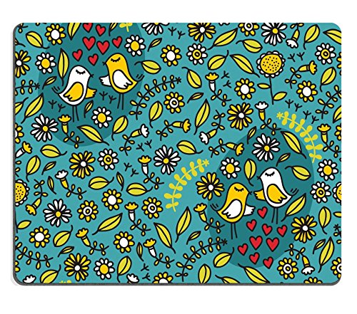 MSD Natural Rubber Gaming Mousepad IMAGE ID: 11747574 Seamless pattern with romantic birds hearts and floral elements on blue (Natural Blue Floral)