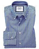 Bügelfreies Classic Fit Business-Casual Hemd mit Button-down Kragen in Königsblau mit Karos Knopfmanschette