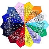 Gudotra 14packs Bandane in Cotone per Capelli Collo Testa Mano Borsetta Multicolori Disegno Paisley Sciarpa Fazzoletti da Taschino per Donna Uomo