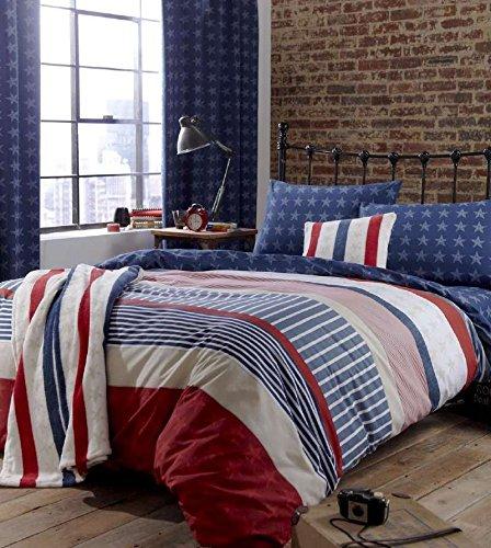 Amerikanischer Sterne & Streifen Rot Weiß Blau Einzel Bettwäsche -