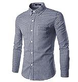 Nutexrol Trachtenhemd Herren Kariert | Slim-Fit Männer Hemd in Vielen Karo Farben | Hemd Aus 100% Baumwolle in Den Größen S-XXXL Schwarzblau S