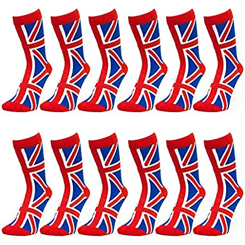 Ladies Union Jack Ankle Socks - Red-White-Blue (Red Top) (12 (Cotone Rich Dress Calzini)