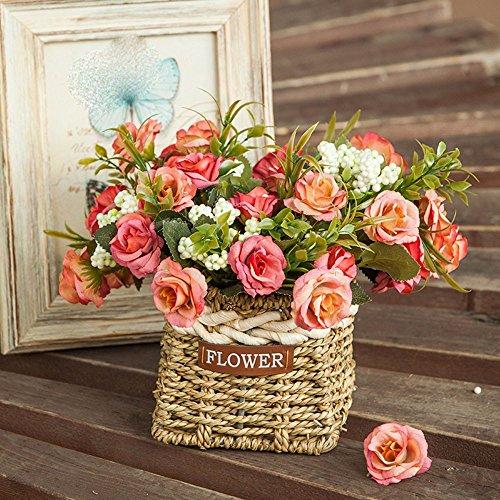 mesmj-kunstliche-blumen-bouquet-stroh-blumenkorbe-rose-rot