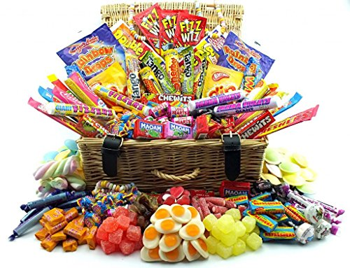 Truly Sumptuous Easter Gift Hampers The Most Decadant XXL Large Real Wicker Retro Sweet Hamper, Over 1000 ind Sweets