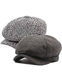 DecStore Pacco di 2 Uomo Cotone Cappuccio Berretti Edera Cappelli Guida  Cappelli Invernale Vintage Beret Hat 468fd08ed01b