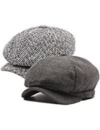 da6a8ac3 Decstore Pack of 2 Men's Cotton Flat Cap Ivy Cabbie Driving Hat Winter  Newsboy Beret Cap