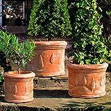 Terracotta-Töpfe Toskana, 3er-Set, rund