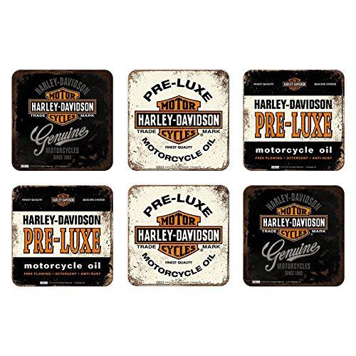 6 tlg Set Untersetzer - 9 x 9 cm - Harley-Davidson Set Nr. 5 (Leder Arten 5)