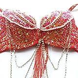 ROYAL SMEELA Danza del Vientre Disfraz Set Profesional para Mujer Carnaval Bellydance Sujetador y cinturón (Rojo, Large)